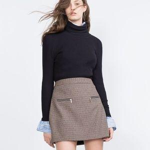 ZARA Basic Plaid A-Line Mini Skirt